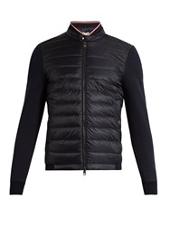 Moncler Maglia Cotton Jersey And Nylon Down Jacket Navy Multi