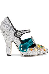 Dolce And Gabbana Embellished Velvet Trimmed Sequined Mary Jane Pumps Silver
