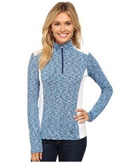 Spyder Bocca Poly Stretch T Neck White Evening Riviera Women's Long Sleeve Pullover Blue