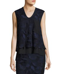 Grey By Jason Wu Sleeveless Layered Floral Lace Top Blue