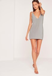 Missguided Strappy Back Slinky Shift Dress Silver Grey