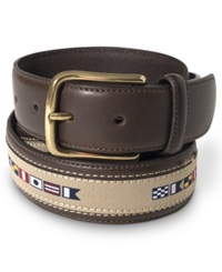 Nautica 35Mm Flag Ribbon Inlay Leather Belt Brown