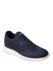 Cole Haan 2.Zerogrand Laser Cut Wingtip Leather Oxfords Marine Blue