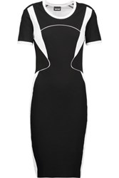 Just Cavalli Tulle And Faux Leather Trimmed Stretch Jersey Dress Black