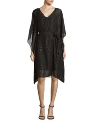 H Halston Two Piece Two Toned Caftan And Camisole Set Black