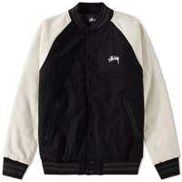Stussy Two Tone Wool Varsity Jacket Black