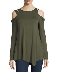 Neiman Marcus Shoulder Cutout Asymmetric Hem Tee Green