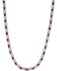 Macy's Garnet 20 Ct. T.W. And Diamond Accent Collar Necklace In Sterling Silver