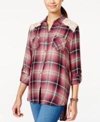American Rag Plaid Roll Sleeve High Low Shirt With Crochet Trim Only At Macy's Renaissance Plaid