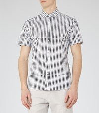 Reiss Cumbria Mens Patterned Cotton Shirt In Green