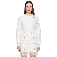 Balmain Off White Wool And Cashmere Four Button Sweater