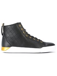 Diesel Diamond Hi Top Sneakers Men Calf Leather Leather Foam Rubber 45 Black