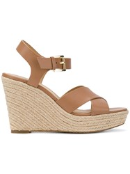 Michael Michael Kors Kady Wedge Sandals Nude And Neutrals