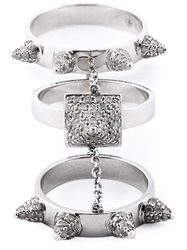 Elise Dray Diamond Three Piece 'Piccadilly' Ring Metallic