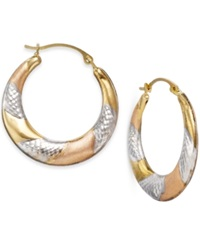 No Vendor Tri Tone Textured Hoop Earrings In 10K Gold No Color