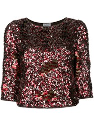 Gianfranco Ferre Vintage Three Quarters Sleeve Sequinned Blouse Red