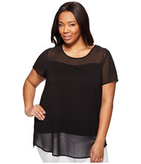 Vince Camuto Specialty Size Plus Short Sleeve Top W Poly Chiffon Yoke And Hem Rich Black Women's Clothing