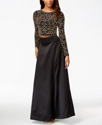 Xscape Evenings Xscape Petite Two Piece Antique Beaded Top And Ball Skirt