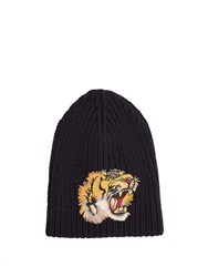 Gucci Embroidered Tiger Applique Wool Beanie Hat Navy Multi