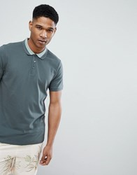 Selected Homme Polo Shirt With Tipping Green