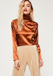 Missguided Orange Extreme Turtle Neck Long Sleeve Crop Top