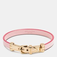 Coach Leather Buckle Bracelet Gold Petal