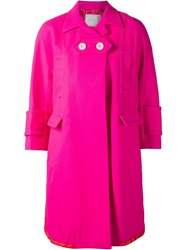 Sacai Two Top Button Coat Pink And Purple