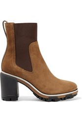 Rag And Bone Shiloh High Leather Trimmed Suede Ankle Boots Light Brown