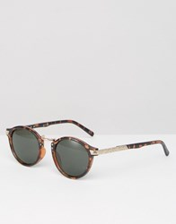Asos Vintage Round Sunglasses In Tort And Rose Gold Tort Brown