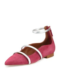 Malone Souliers Robyn Suede Ankle Strap Flat Cactus Flower Pink Silver