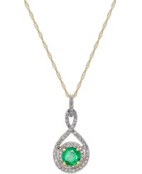 Macy's Sapphire 1 2 Ct. T.W. And Diamond 1 4 Ct. T.W. Pendant Necklace In 14K White Gold Also In Emerald And Ruby