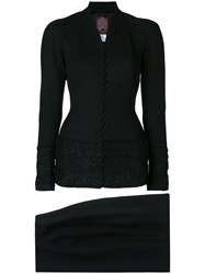 John Galliano Vintage Collarless Fitted Skirt Suit Black