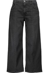Current Elliott Mid Rise Cropped Faded Flared Jeans Black