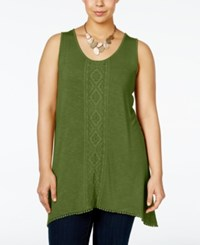 Nanette Lepore By Plus Size Embroidered Tank Top Only At Macy's Olive