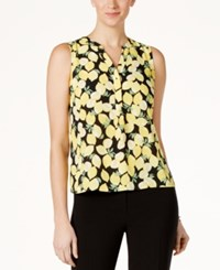 Nine West Lemon Print V Neck Shell Lemon Multi