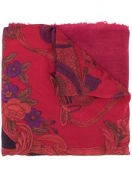 Avant Toi Floral Embroidered Scarf 60