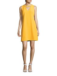 Taylor Solid Pearl Embellished Shift Dress Sunshine Yellow