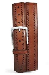 Men's Big And Tall Allen Edmonds 'Manistee' Brogue Leather Belt Walnut