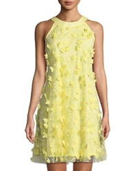 Jax 3 D Floral Trapeze Dress Yellow