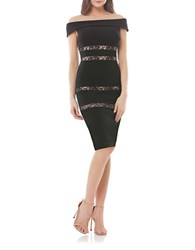 Js Collections Lace Inset Off The Shoulder Sheath Dress Black Nude