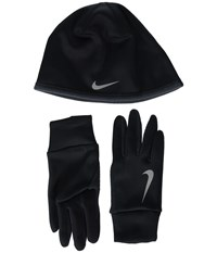 Nike Run Thermal Hat And Gloves Set Black Anthracite Silver Athletic Sports Equipment