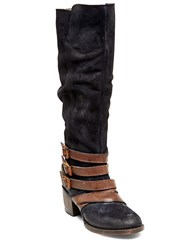 Freebird Jules Leather Tall Boots Navy Blue