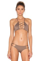 Indah Hapa Lace Up Top Brown
