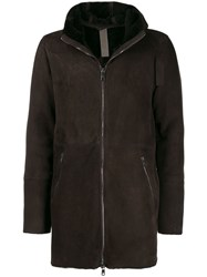 Giorgio Brato Hooded Front Zip Coat Brown