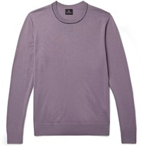 Paul Smith Ps Contrast Tipped Merino Wool Sweater Purple