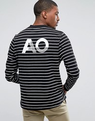 Asos Relaxed Long Sleeve Stripe T Shirt With Ao Print White Black Navy