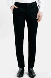 Topman Black Textured Skinny Fit Tuxedo Trousers