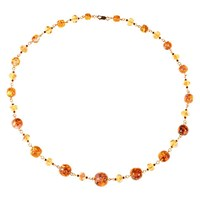 Alice Joseph Vintage 1930S Gold Filled Opaline And Foil Venetian Glass Bead Necklace Citrine Pink
