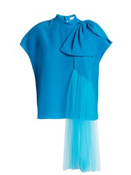 Delpozo Exaggerated Bow Silk Blouse Blue