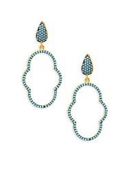 Azaara Romantic 22K Yellow Goldplated Earrings Turquoise